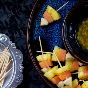 Candy Corn Fruit Kebabs. Healthy Halloween Treats.
