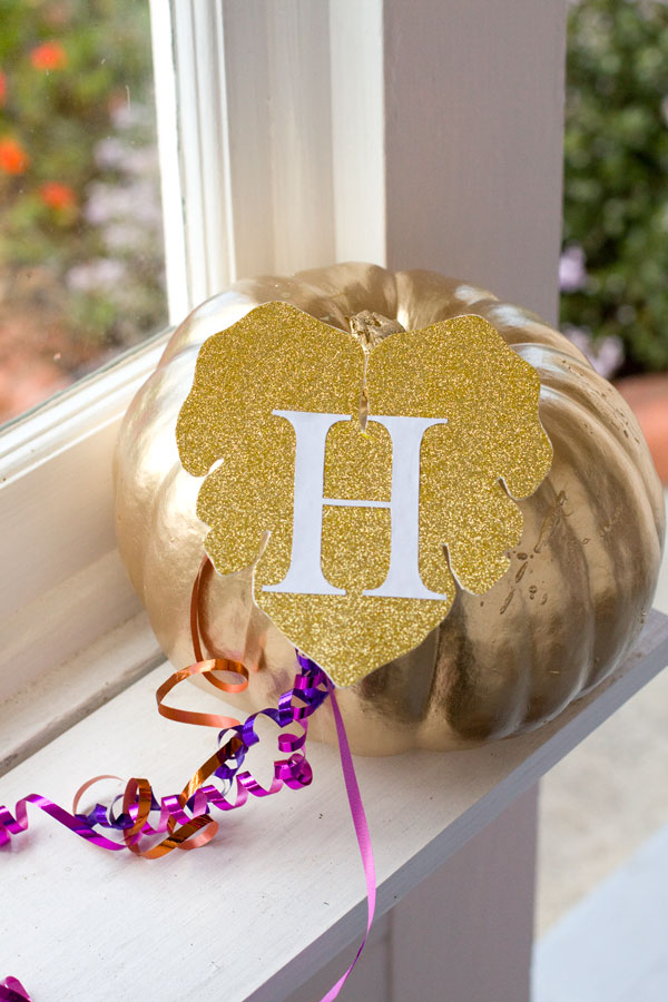 Gold and Glitter No-Carve Halloween Pumpkin