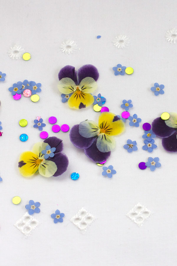 DIY Pressed Flower Confetti with Violas and Sequins