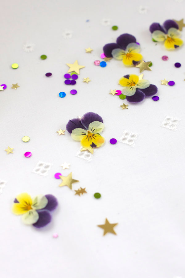 DIY Pressed Flower Confetti with Violas and Stars