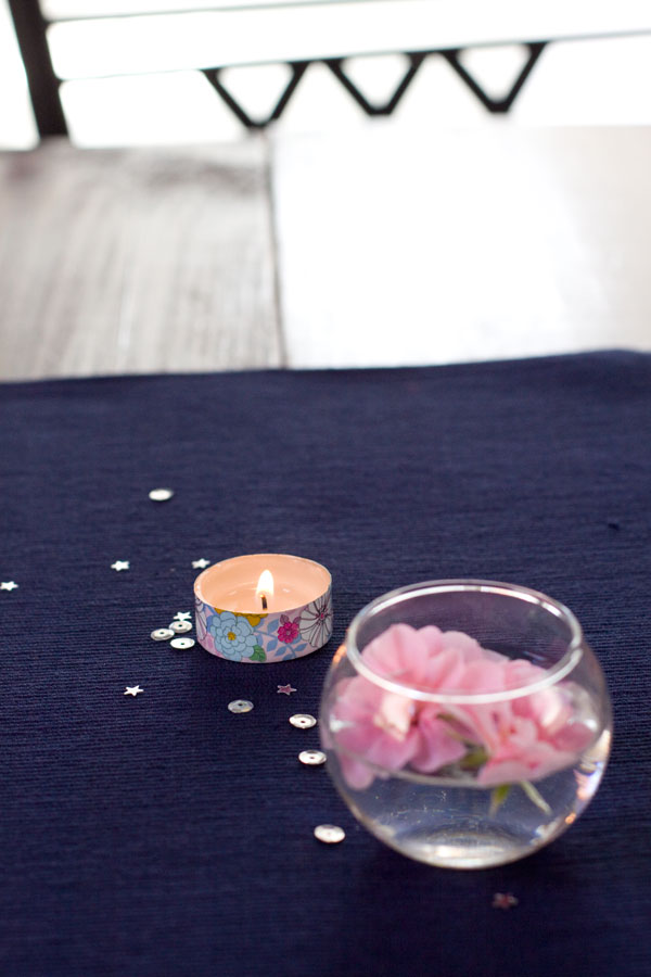 Simple Spring Decor Ideas - Floating Flowers with Washi Tape Tealight Candle