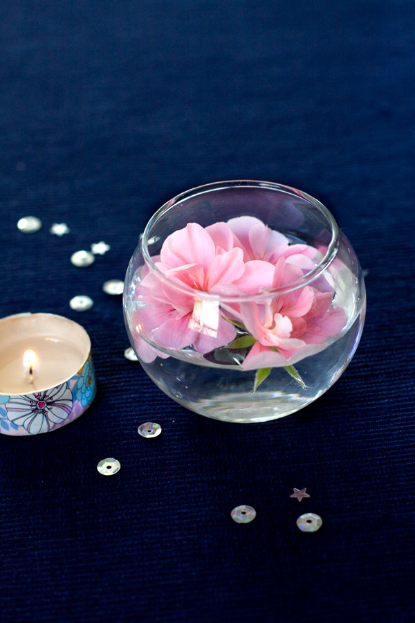 Spring Decor - Washi Tape Tealight Candle with Floating Flowers