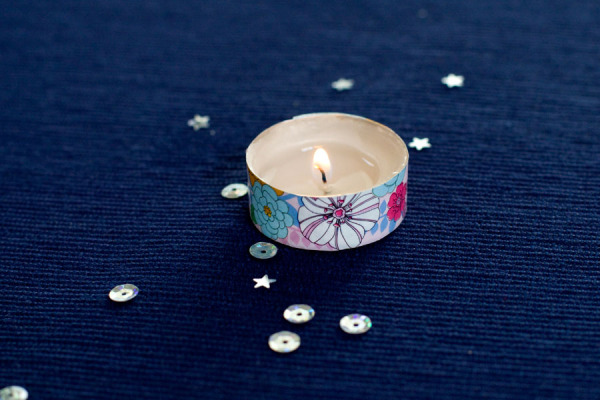 Spring Decor - Washi Tape Tealight Candle