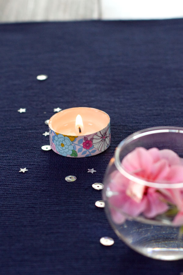 Simple Spring Decor Ideas - Floating Flowers with Washi Tape Tealight Candle and Sequins