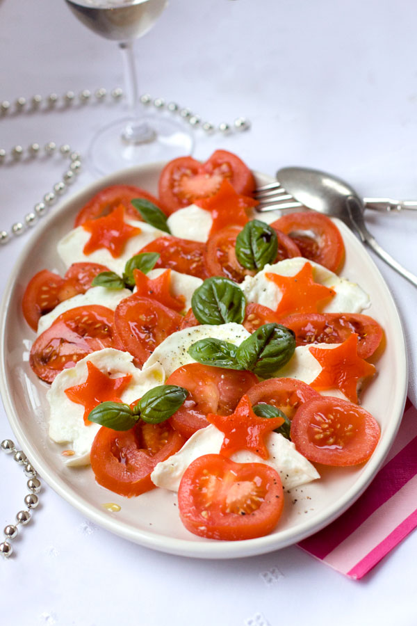 Christmas Salad Ideas - Tomato and Mozzarella with Roast Capsicum Stars