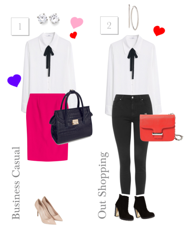Get the Look - Business Casual and Out Shopping. 2 looks with MANGO Tie-Neck Blouse. Feature