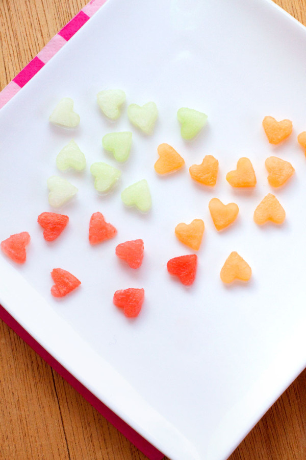 Valentine's Day Confetti Fruit Salad - Melon Hearts