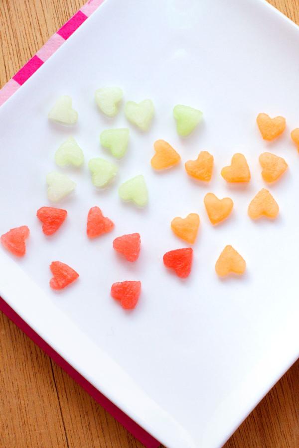 Valentine's Day Confetti Fruit Salad - Melon Hearts