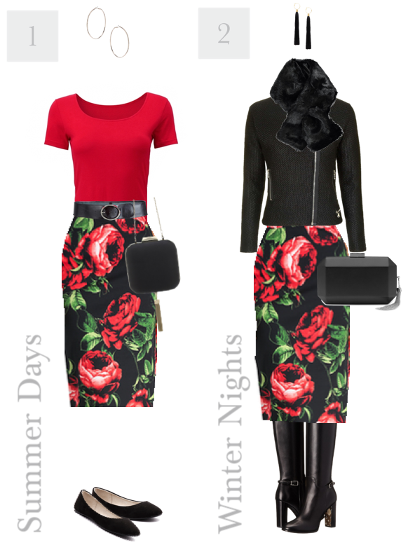 2 Ways to Wear a Rose Print Skirt