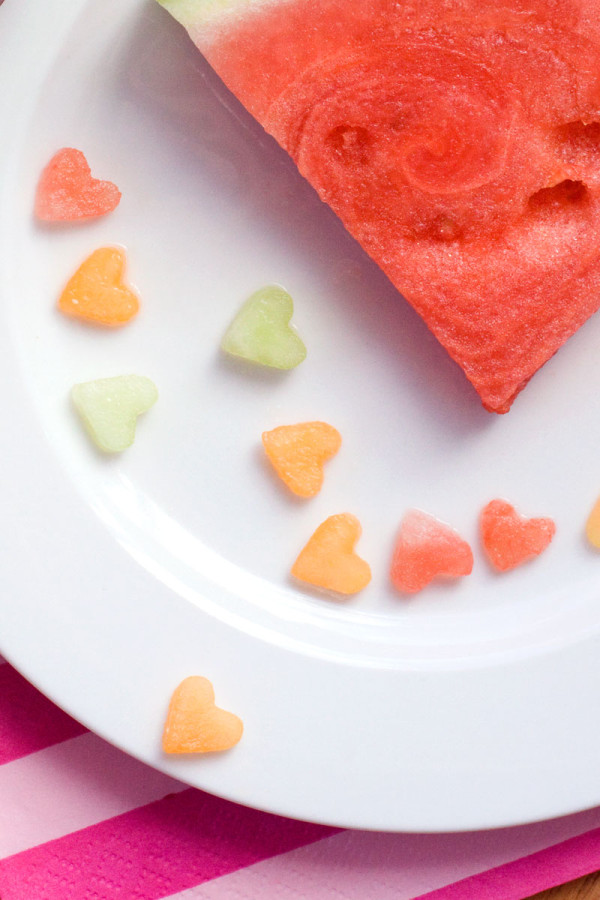 Confetti Fruit Salad for Valentine's Days - Melon Hearts